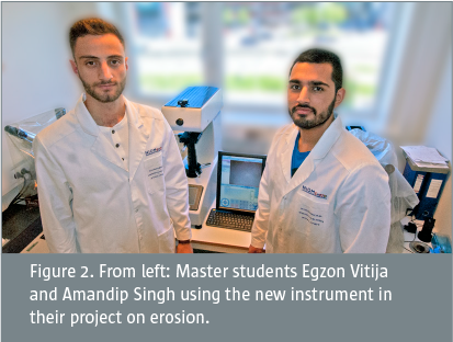 Master students Egzon Vitija and Amandip Singh using the new instrument in their project on erosion.